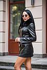 Куртка Кожаная Черная Съемный Низ 009ГК Батал, фото 3