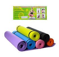 Коврик для йоги и фитнеса MS 0380-3, ЕVА, 173*61*0.6 см, разн. цвета