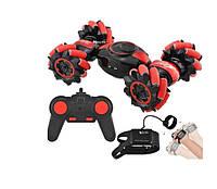 Детская трюковая машинка перевёртыш Stunt LH-C019S управление с руки и пультом, радиоуправление, красная