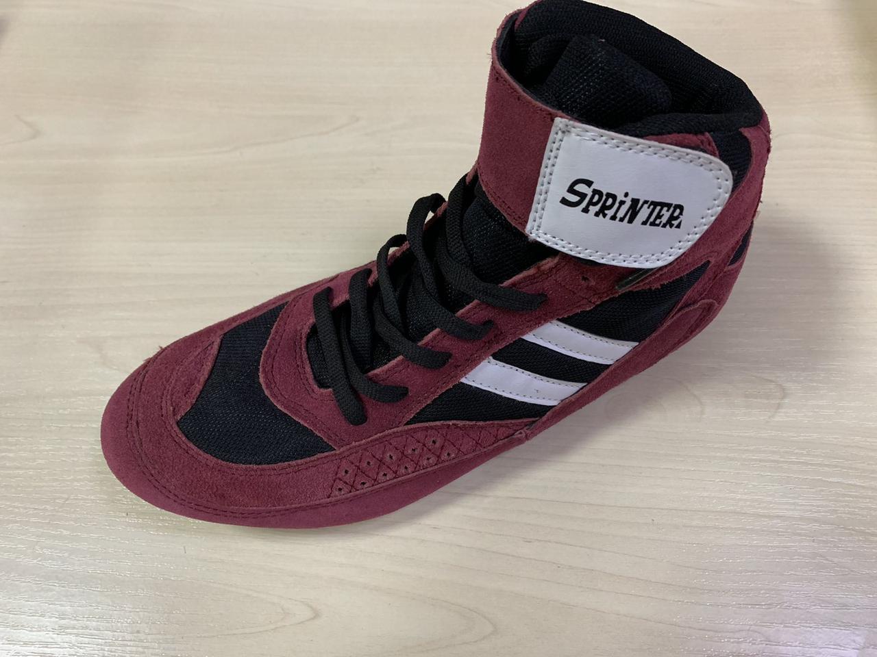 Борцовки Sprinter верх - замш, низ - нескольз.резина, красные с бел. и черн.вставками Р.45