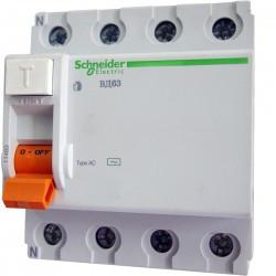 Дифференциальное реле (УЗО) Schneider Electric ВД63 4р 63А 30мА