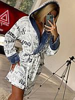 Женский короткий махровый халат, фото 1