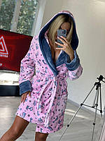 Короткий махровый халат розовый с котиками, фото 1