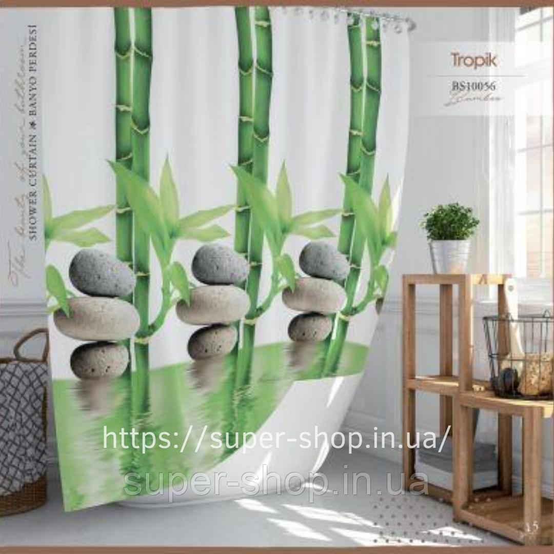Штори на ванну кімнату розсувні 240х200 см Тропік з прийняте бамбук