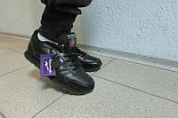Женские кроссовки Reebok черные 837-1 кожа код 804а