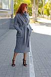 Стильное демисезонное пальто-халат с вязанными вставками  Ricco Селин, фото 2