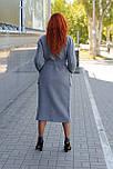 Стильное демисезонное пальто-халат с вязанными вставками  Ricco Селин, фото 3