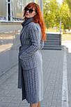 Стильное демисезонное пальто-халат с вязанными вставками  Ricco Селин, фото 4