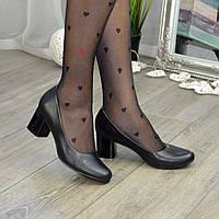 Женские черные кожаные туфли на невысоком устойчивом каблуке. 36 размер