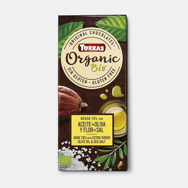 Шоколад черный без глютена Torras с оливковым маслом и солью Organic Bio 70 % cacao negro dark 100 г Испания