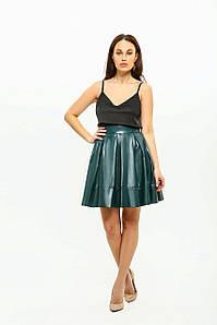 """Женская юбка экокожа """"солнце"""" AniTi 003, изумрудный"""