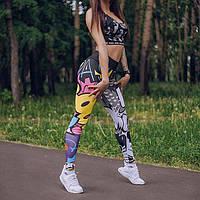 Яркие лосины для фитнеса и йоги с мультяшным принтом, фото 1