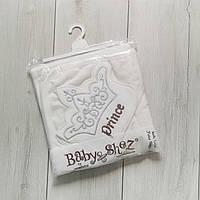 Махровое полотенце с уголком и рукавичкой Prince молочное