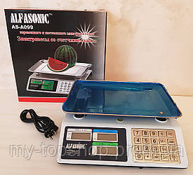 Весы электронные торговые до 55 кг Alfasonik AS-A099 с металлическими кнопками