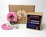 """Набір-гра """"Кайдани любові"""": печиво із завданнями для двох, гральні кістки з позами любові і наручники з хутром, фото 2"""