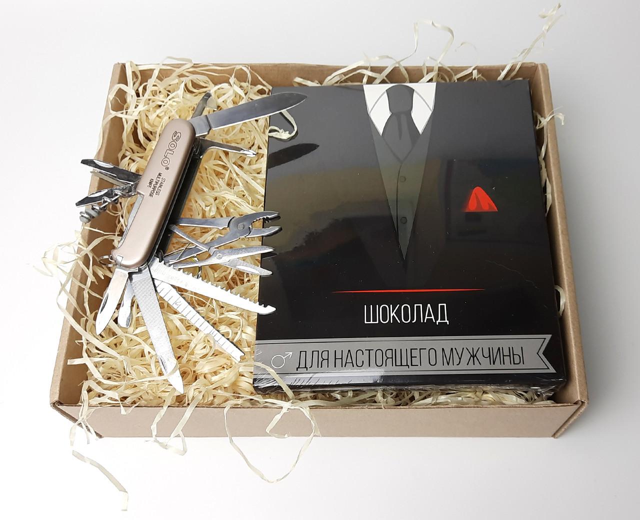 """Мужской набор """"Мужской резерв"""": нож-мультитул и шоколадный набор """"Для настоящего мужчины"""""""""""