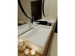 Раковина з литого мармуру Miraggio MARES 800х430х145, глянсовий, білий