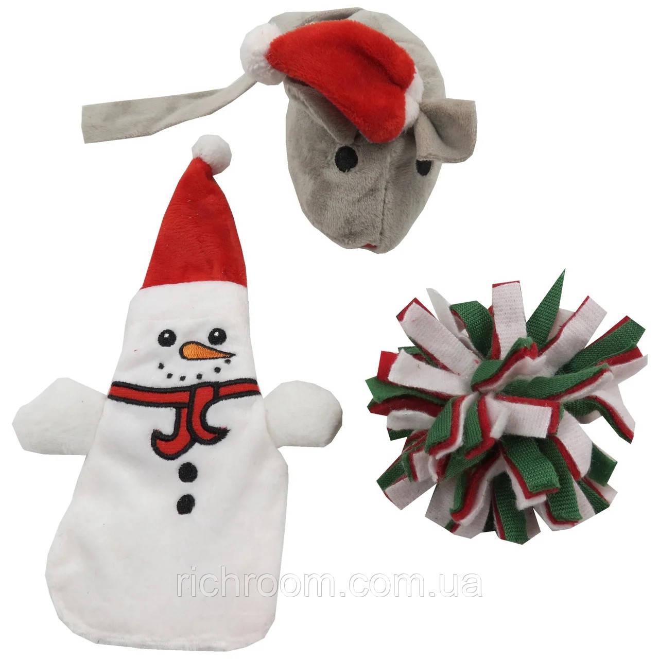 Игрушки для кошек, набор 3 шт Zoofari (хрустящий снеговик, мышка с кошачьей мятой, помпон)