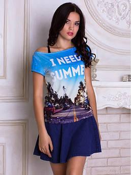 Женская футболка широкая горловина с принтом Лето Пальмы
