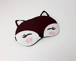 """Маска на очі для сну """"Лисичка"""" (коричнева) - М'які зручні маска для сну на гумці"""