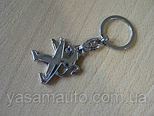 Брелок металлический простой Peugeot Уценка есть места без хрома эмблема Пежо автомобильный на авто ключи
