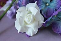 """Цветок розы """"кучерявой"""" диаметр 4 - 4,5 см кремового цвета на стебле"""