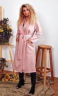 Женское осеннее пальто на запах длинное замш на дайвинге размер: 50-52, 54-56, 58-60, 62-64