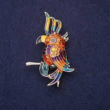 Брошь Попугай эмаль цвет оранжевый зеленый желтый фиолетовый 50х30мм золотистый металл