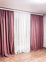 Шторная ткань микровелюр №212 цвет брусничный. Ткань для штор. Однотонные шторы