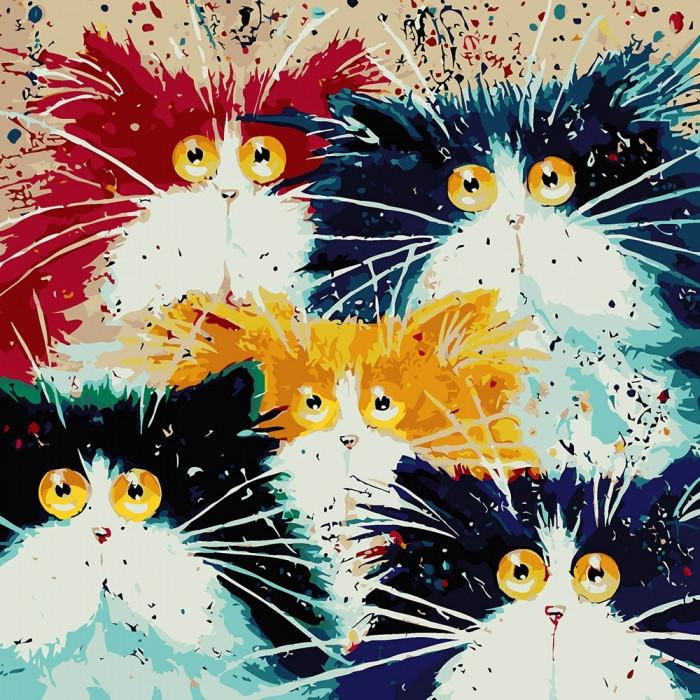 """Картина по номерам. Животные,  птицы """"Счастливое семейство """" 40*40см * KHO4038"""