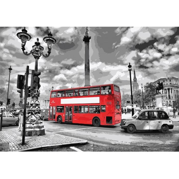 """Картина по номерам. Городской пейзаж """"Яркий автобус"""" 35х50см KHO2146"""