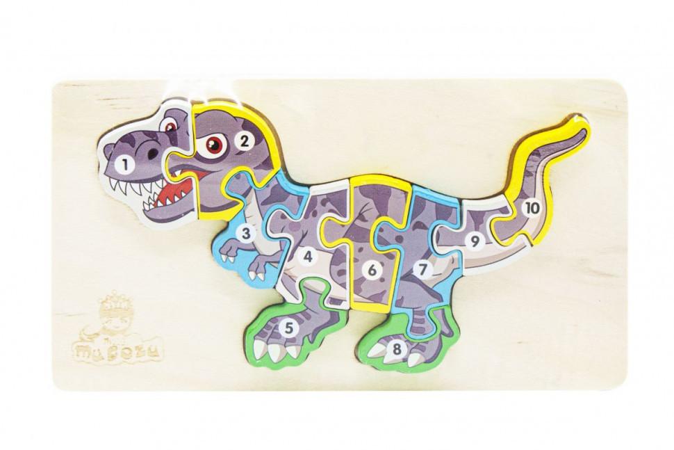 Деревянная игрушка Пазлы динозавры, с нумерацией MD 2507 (Тираннозавр MD 2507-4)