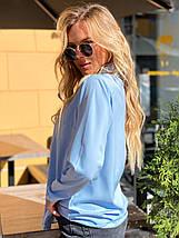 Блузка 641 голубая, фото 3