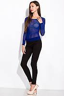 Прозрачная блуза-сетка женская, цвет Индиго