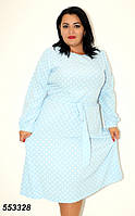 Женское голубое платье в горох 48,50,52,54,56, фото 1