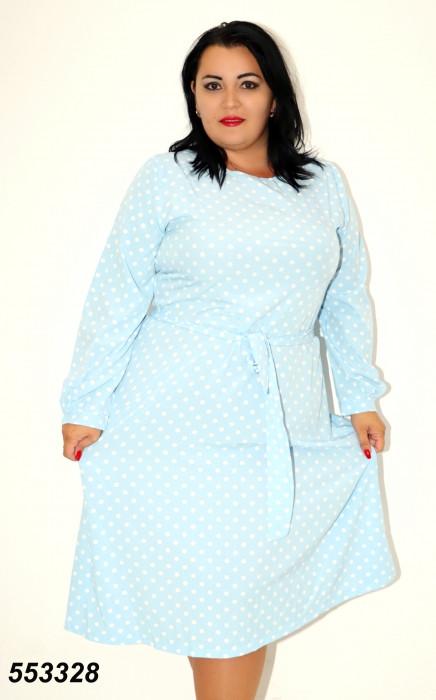 Женское голубое платье в горох 48,50,52,54,56