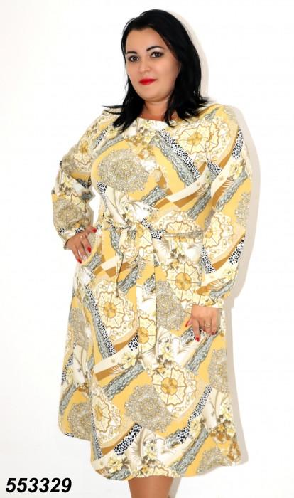 Женское жёлтое платье с абстрактным принтом 48,50,52,54,56