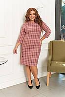 Платье женское большого размера, размер 52 ( 52, 54, 56, 58 ) платье осень-зима, Персиковое в клетку
