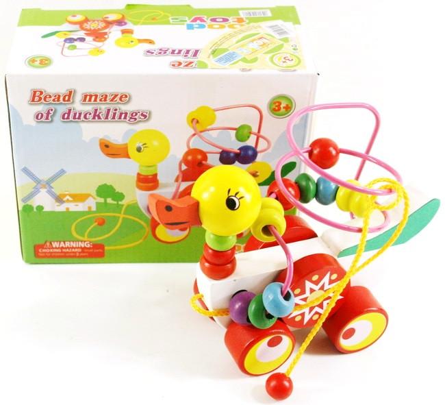 Лабиринт-каталка УТОЧКА, детская развивающая игрушка.