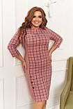 Платье женское большого размера, размер 58 ( 52, 54, 56, 58 ) платье осень-зима, Персиковое в клетку, фото 2