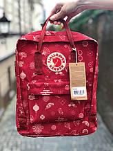 Стильный женский рюкзак канкен красный с рисунками Fjallraven Kanken classic red 16 л.