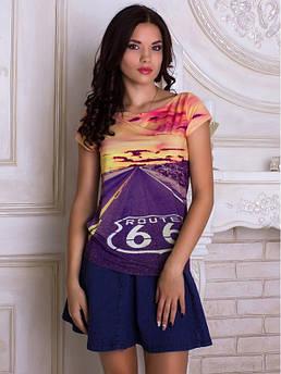 Женская футболка с широкой горловиной с принтом Хайвей 66