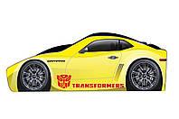 Детская кровать-машина Трансформер желтого цвета 1470 /736
