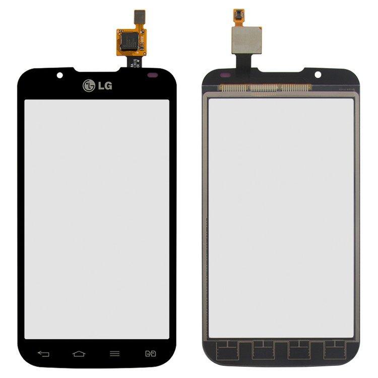 Сенсорный экран (тачскрин) LG P715 Optimus L7 II, чёрный, оригинал (PRC)