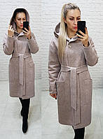 Женское осеннее пальто с капюшоном на поясе кашемир-трикотаж+100 силикон размер: 42, 44, 46, 48