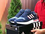 Мужские кроссовки  Adidas Zx 500 Rm темно синие с белым, фото 2