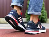 Мужские кроссовки  Adidas Zx 500 Rm темно синие с белым, фото 4