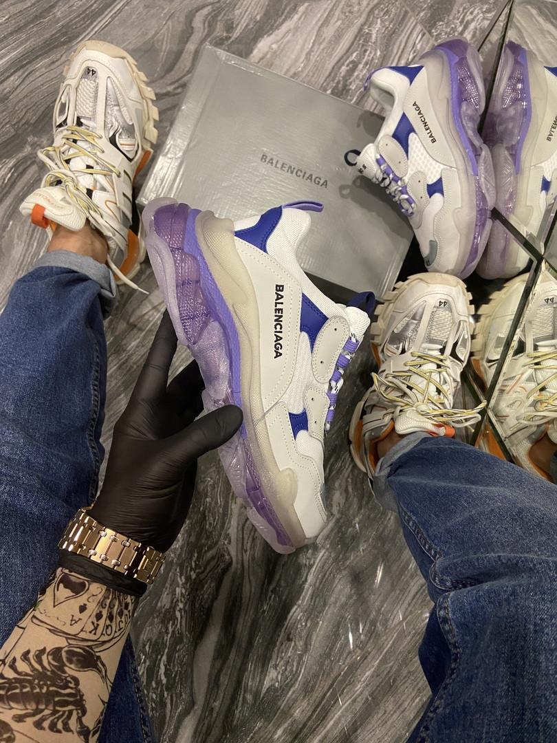 Жіночі кросівки Balenciaga Triple S Clear Sole Violet White