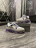 Жіночі кросівки Balenciaga Triple S Clear Sole Violet White, фото 2