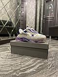 Жіночі кросівки Balenciaga Triple S Clear Sole Violet White, фото 4